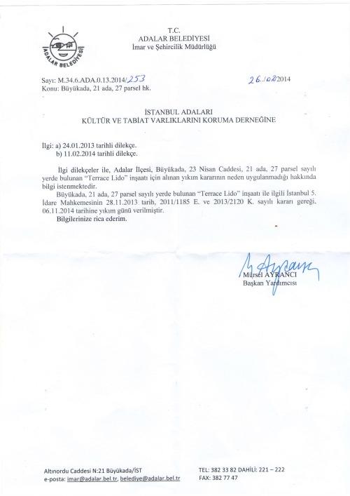 dernek sayı-193 Ek- (186Y ve 187Y) LİDO yıkım kararı Adalar Belediyesi 20140227