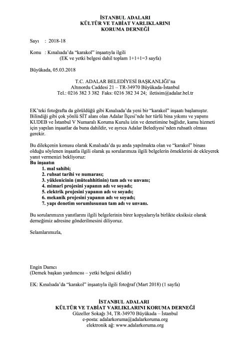 dernek sayı-2018-18D Kınalıada karakoluyla ilgili Adalar Belediyesi'ne 20180305